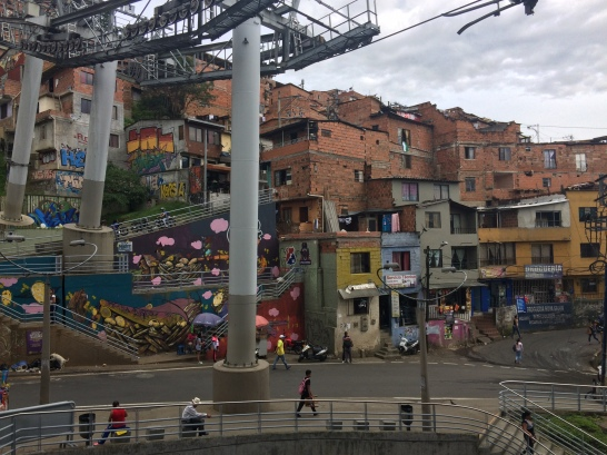 Heading up through the barrios of Medellin